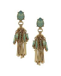 Sparkling Sage - Metallic 14k Plated Crystal & Resin Drop Earrings - Lyst