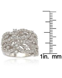 Suzy Levian - White Pave Cubic Zirconia Sterling Silver Pave Leaf Ring - Lyst