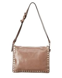 Prada - Gray Etiquette Embellished Leather Shoulder Bag - Lyst