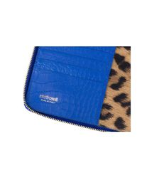 Roberto Cavalli - Blue Textured Leather Shoulder Strap Tablet Device Case - Lyst