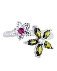 JewelryAffairs - White Sterling Silver Colored Flower Cz By Pass Style Adjustable Toe Ring - Lyst