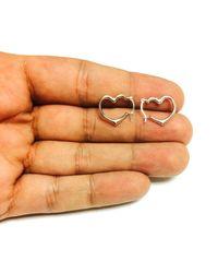 JewelryAffairs - 10k White Gold Shiny Open Heart Hoop Earrings, Diameter 15mm - Lyst