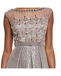 Kay Unger - Multicolor Embellished Bodice Cap Sleeve Cocktail Dress - Lyst