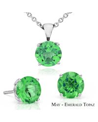 Suzy Levian - Green 18k Goldplated Sterling Silver 3ct Emerald Topaz May Birthstone Set Made With Swarovski Gemstones - Lyst