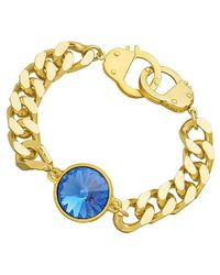 Eklexic | Metallic Sapphire Crystal Curb Chain & Handcuff Clasp Bracelet (gold / Sapphire) | Lyst