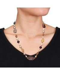 Catherine Malandrino - Black Freshwater Cultured Pearl And Gems Bead Necklace - Lyst