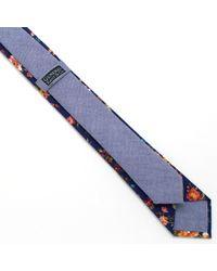 General Knot & Co - Vintage English Rose & Blue Shirting Skinny Necktie for Men - Lyst