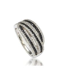 Suzy Levian - Blue Sterling Silver Cubic Zirconia Black & White Stripe Ring - Lyst