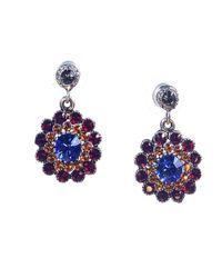 Otazu - Blue Clear Swarovski Crystal Flower Drop Earring - Lyst