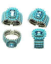 Otazu - Blue Turquoise And Aqua Swarovski Crystal Cuff - Lyst