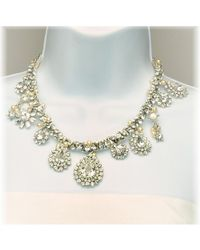 Otazu - Metallic Swarovski Crystal And Pearl Multi-drop Necklace - Lyst