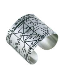 Designhype | Metallic London Tube Cuff Black | Lyst