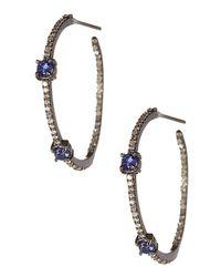 Vanhi   Oxidized Sterling Silver Blue Sapphire & Diamond Hoop Earrings   Lyst