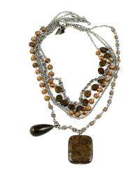 Otazu | White Bead, Stone And Swarovski Crystal Multi-chain Necklace | Lyst