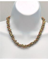 Otazu - Metallic Barrel Swarovski Crystal Necklace - Lyst