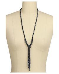 Saachi   Blue Crystal Knotted Tassel Necklace   Lyst