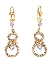 Peermont | Metallic Gold And Silver Crystal Heart And Double Circle Earrings | Lyst