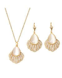 Peermont | Metallic Gold And Crystal Elements Teardrop Earrings And Pendant Necklace Set | Lyst