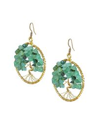 Aeravida - Green Eternal Tree Of Life Stone Branch Brass Dangle Earrings - Lyst