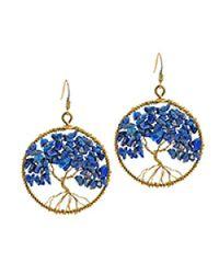 Aeravida | Metallic Eternal Tree Of Life Stone Branch Brass Dangle Earrings | Lyst