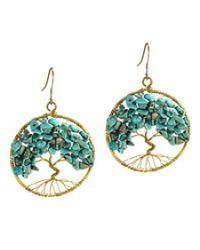 Aeravida | Blue Eternal Tree Of Life Stone Branch Brass Dangle Earrings | Lyst
