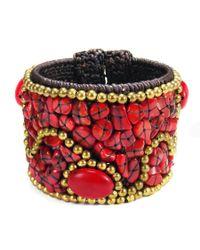 Aeravida   Metallic Cotton Rope Mosaic Stone Brass Wire Adjustable Cuff   Lyst