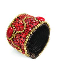 Aeravida - Metallic Cotton Rope Mosaic Stone Brass Wire Adjustable Cuff - Lyst