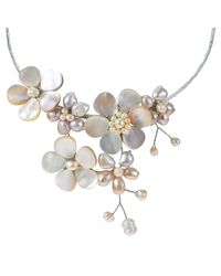 Aeravida - Pink Multi Flower Pearl Cluster Choker Wire Wrap Necklace - Lyst