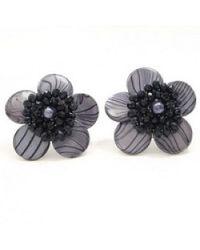Aeravida | Black Zebra Flower Clip On Earrings | Lyst