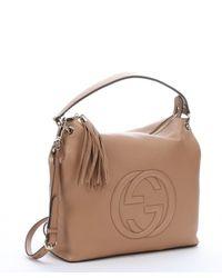 Gucci - Natural Camel Leather 'soho' Logo Tubed Convertible Hobo Bag - Lyst