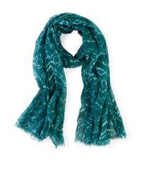 Liebeskind Berlin - Blue Block Print Cotton-silk Scarf - Lyst