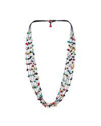 Aeravida | Metallic Handmade 6 Strands Multi Stone Wax Rope Necklace | Lyst