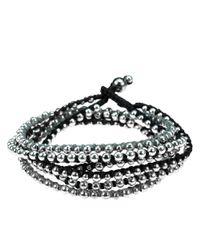 Aeravida - Metallic Trendy Round Silver Beads Triple Layer Bracelet/necklace - Lyst