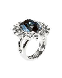 Kenneth Jay Lane - Metallic Women's Silver-tone Rhodium Plated Ring White And Blue Rhinestones - Lyst
