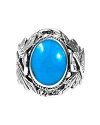 Aeravida | Blue Beautiful Couple Swan Oval Stone Sterling Silver Ring | Lyst