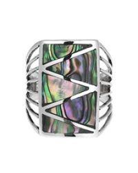 Aeravida | Brown Stripe Line Zig-zag Gemstone Sterling Silver Ring | Lyst