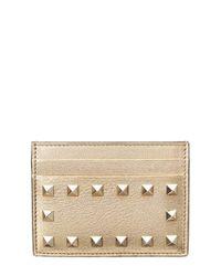 The Rockstud Metallic Textured-leather Cardholder - Gold Valentino M6kYueMRsJ