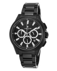 Lancaster Italy - Women's Apollo Chrono Black Ion Plated Ss And Dial Black Ion Plated Ss - Lyst