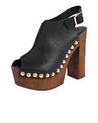 Charles David - Brown Leather 'ciao' Faux Wooden Platform Sling Back - Lyst