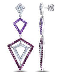 Versace - Metallic Blue Topaz, Amethyst And Rhodolite Openwork Drop Earrings In Sterling Silver - Lyst