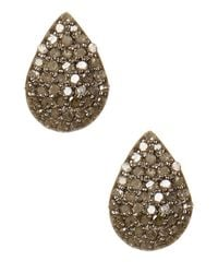 Adornia | Metallic Champagne Diamond And Sterling Silver Teardrop Stud Earrings | Lyst