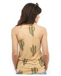 Brokedown - Orange Cactus High Neck Tank In Peach - Lyst