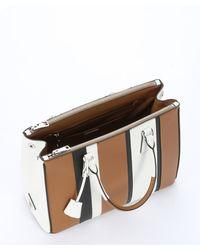 Prada - Brown Caramel And White Baiadera Striped Saffiano Leather Convertible 'galleria' Tote - Lyst
