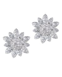 CZ by Kenneth Jay Lane - Metallic 3cttw Pave Cz Floral Stud Earring - Lyst