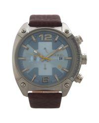 DIESEL | Dz4340 Chronograph Overflow Dark Brown Leather Strap Watch for Men | Lyst