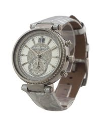 Michael Kors - Mk2443 Chronograph Sawyer Metallic Silver Croc-embossed Leather Strap Watch for Men - Lyst