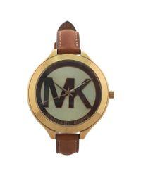 Michael Kors - Brown Mk2326 Slim Runway Luggage Leather Strap Watch for Men - Lyst