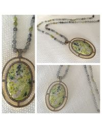 Blue Candy Jewelry - Large Jasper Diamond Pendant On Green Garnet And Labradorite Chain - Lyst