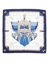 Hermès - Blue Vintage Scarf Vue Du Carrosse De La Galere La Reale By Hugo Grygkar - Lyst