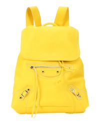 Balenciaga | Yellow Leather 'classic Traveller S' Backpack | Lyst